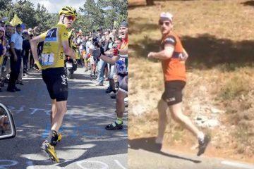 Chris Froom og Kasper Sørensen løber op ad Mont Ventoux